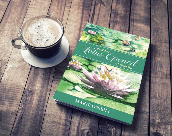 """""""and the Lotus Opened"""" book on cofee table"""